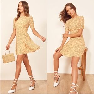 Reformation Gracie Yellow Floral Dress